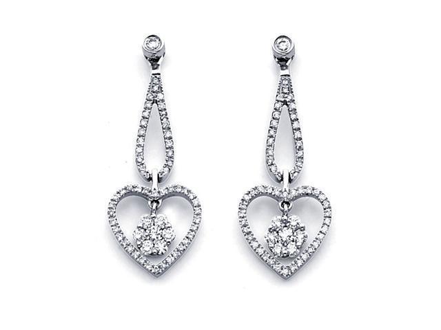 Heart Diamond Dangle Earrings 14k White Gold Drop Cluster (1/2 Carat)