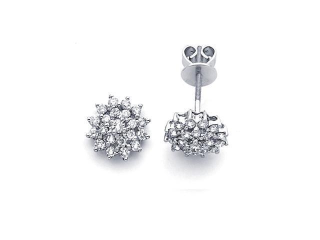 Cluster Diamond Earring Studs 14k White Gold Flower Design (3/4 Carat)