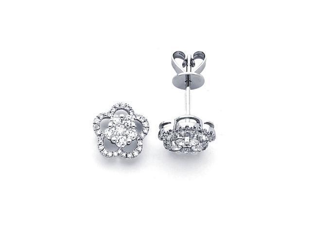 Flower Diamond Earring Studs 18k White Gold Cluster Design (1/2 Carat)