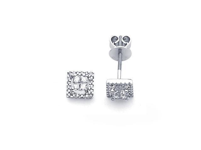 Square Princess Diamond Earring Studs 14k White Gold (1/2 Carat)