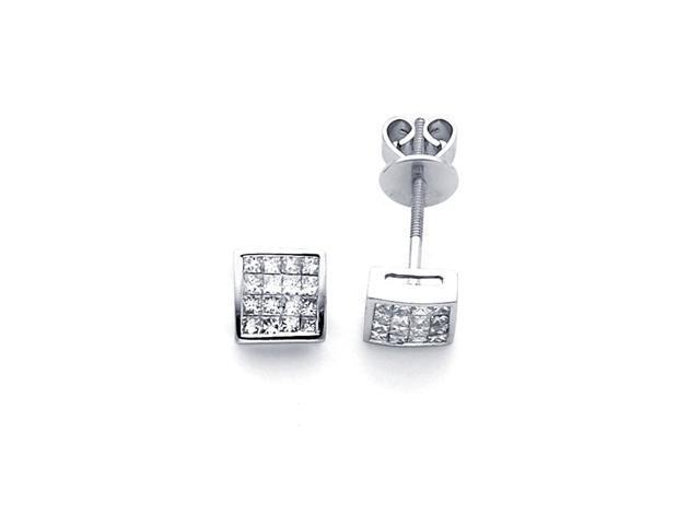 Square Princess Diamond Earring Studs 14k White Gold (2/3 Carat)