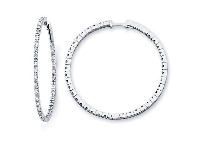 Hoop Diamond Earrings 14k White Gold Classic Style Round (0.82 Carat)