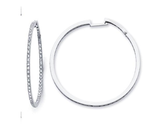 Diamond Hoop Earrings 14k White Gold Classic Style Round (1.06 Carat)