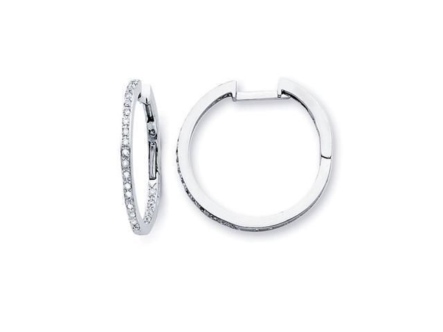 Diamond Hoop Earrings 14k White Gold Classic Huggies (1/3 Carat)