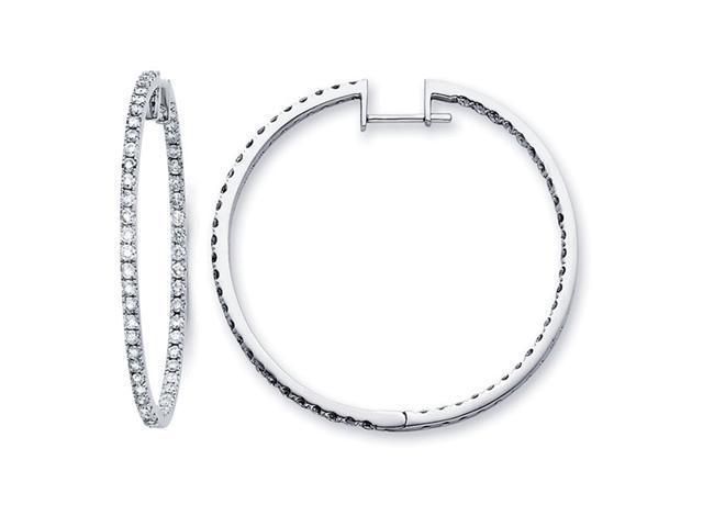 Big Hoop Diamond Earrings 14k White Gold Classic Style (2.10 Carat)