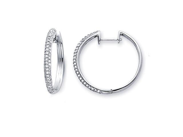 Diamond Hoop Earrings 14k White Gold Classic Style Round (0.81 Carat)