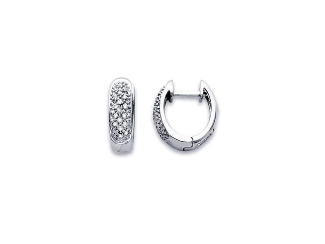 Hoop Diamond Earrings 14k White Gold Huggie Small (1/5 Carat)