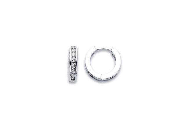 Diamond Hoop Earrings 14k White Gold Huggie Classic Round (1/3 Carat)