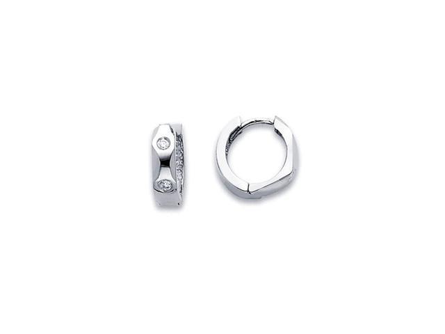 Hoop Diamond Earrings 14k White Gold Huggie Small Round (1/5 Carat)