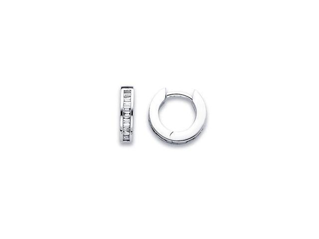 Hoop Diamond Earrings 14k White Gold Small Huggie Baguette (1/3 Carat)
