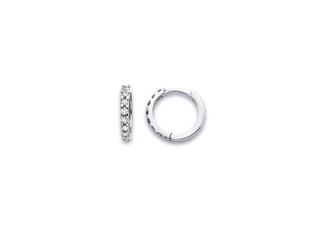 Diamond Hoop Earrings 14k White Gold Huggie Classic Small Round 1/4 CT