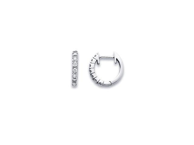 Diamond Hoop Earrings 14k White Gold Huggie Classic Small Round 1/5 CT