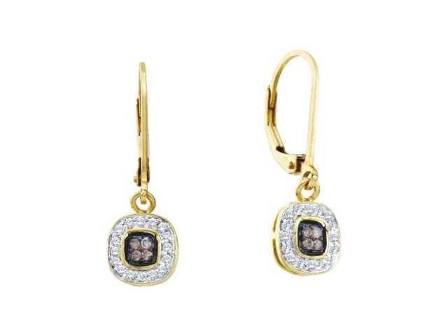 Brown Champagne Diamond Dangle Earrings 14k Yellow Gold (1/4 Carat)