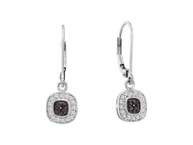 Black & White Diamond Dangle Earrings 14k White Gold (1/4 Carat)