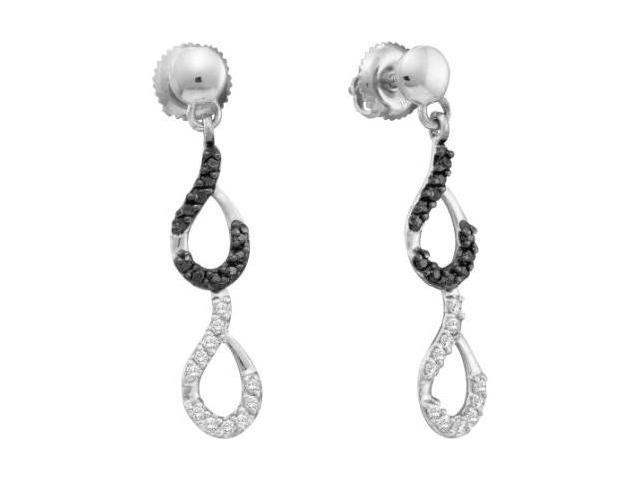 Black & White Diamond Dangle Earrings 14k White Gold Drops (1/3 Carat)