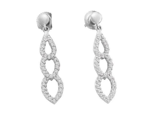 Diamond Dangle Earrings Hearts Drops 14k White Gold (0.41 Carat)