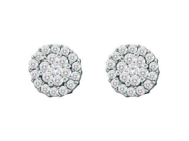 Diamond Stud Earrings Round Cluster Solitaire Set 14k White Gold 3/4ct