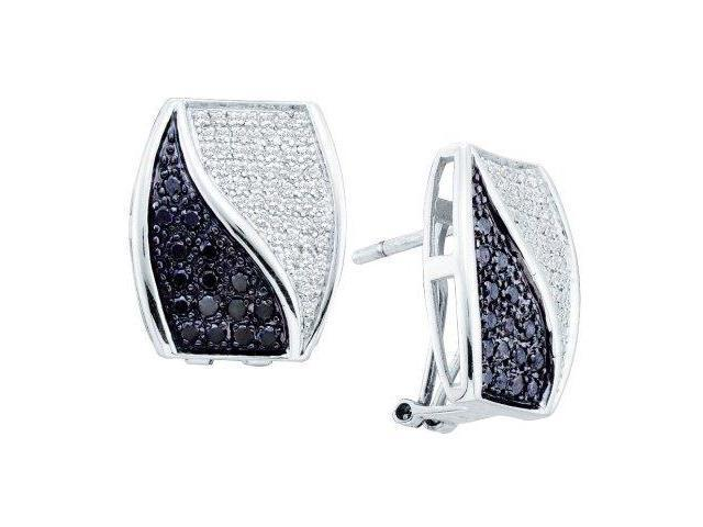 Black & White Diamond Earrings Studs Yin Yang 14k White Gold (1.00 CT)