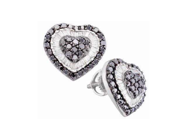 Black & White Diamond Heart Earring Studs 14k White Gold (1.50 Carat)