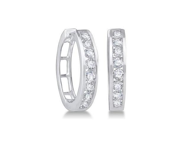 Classic Diamond Hoop Earrings 14k White Gold Round (1.00 Carat)