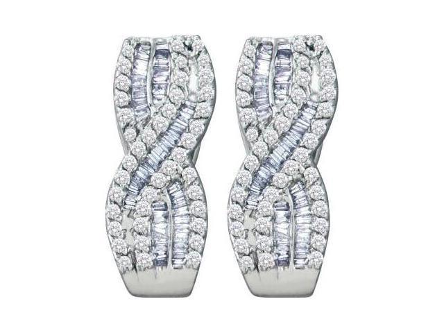 Diamond Stud Earrings 14k White Gold Fashion Hoops (1.21 Carat)