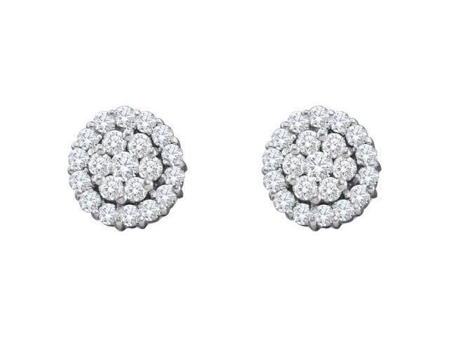 Cluster Diamond Earrings Studs 14k White Gold Solitaire Set (1.50 CTW)