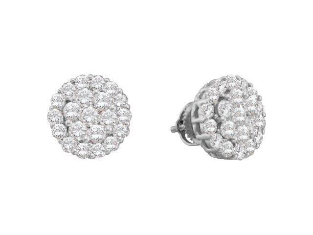 Diamond Stud Earrings Solitaire Cluster Set 14k White Gold (2.00 CTW)