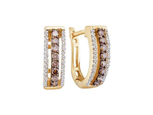 Brown Chocolate Diamond Hoop Earrings 14k White Gold Round (1/2 Carat)