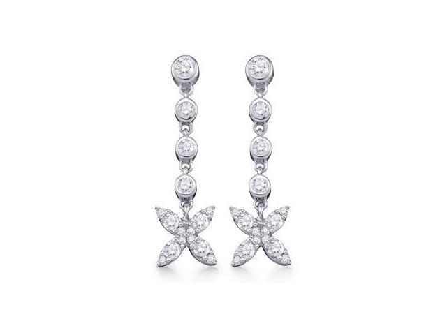 Diamond Dangle Earrings White Gold Star Palm Tree (3/4 Carat)