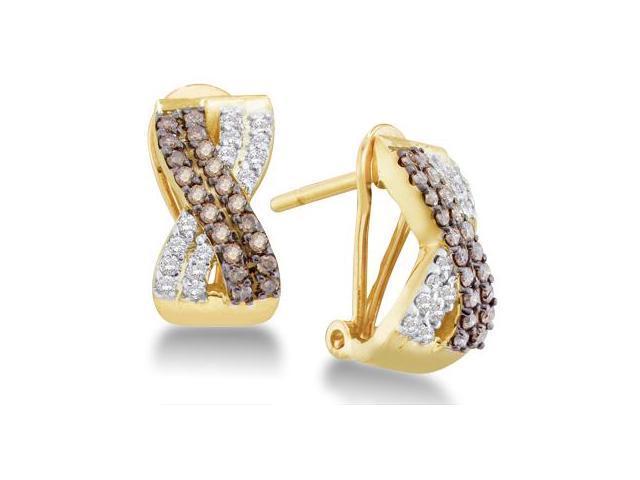 Chocolate Brown Diamond Earring Studs 14k Yellow Gold (1/2 Carat)
