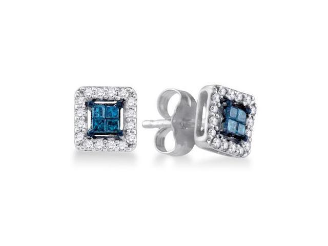 Blue Princess Diamond Earring Studs 10k White Gold Square (1/4 Carat)