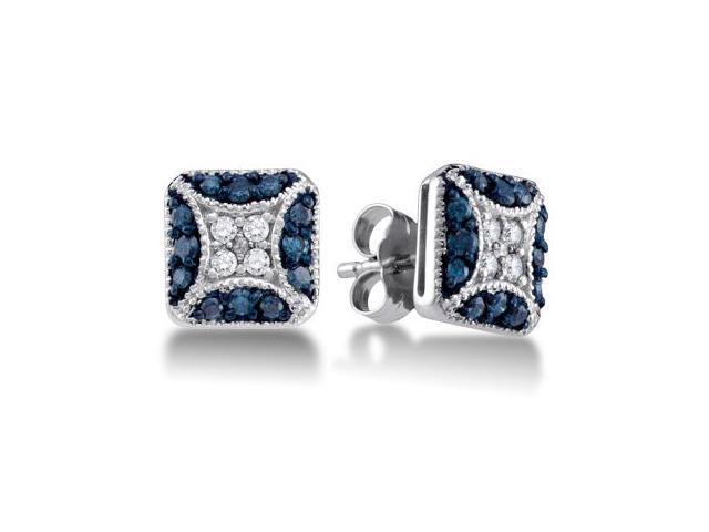 Blue Diamond Earring Studs 10k White Gold Square (1/2 Carat)