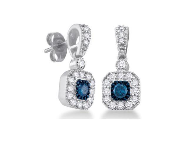 Blue Aqua Diamond Dangle Earrings 10k White Gold (2/3 Carat)