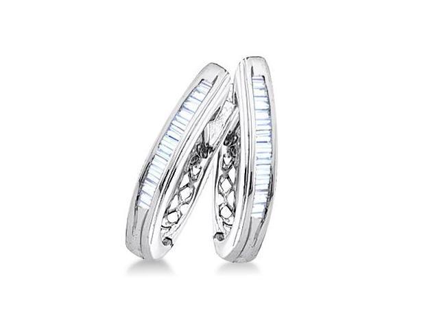 Baguette Diamond Hoop Earrings Sterling Silver (1/4 Carat)