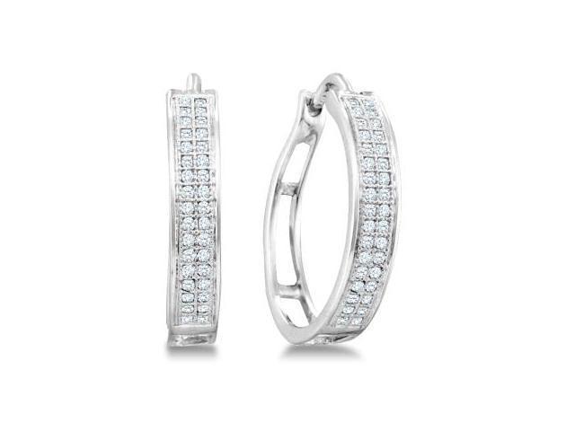 Diamond Hoop Earrings Sterling Silver Micro Pave (1/5 Carat)