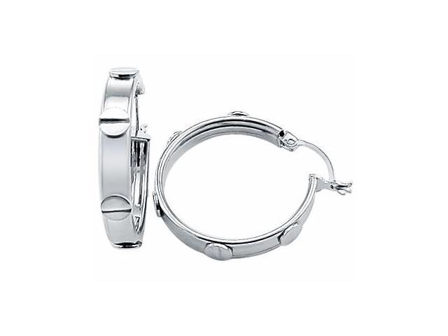Fashion Hoop Earrings Solid 14k White Gold 1.00 inch