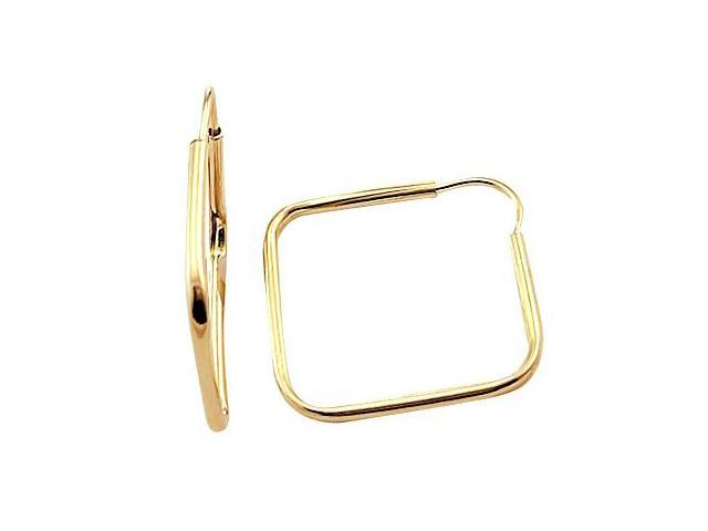 Square Hoop Earrings 14k Yellow Gold Box 3/4 inch