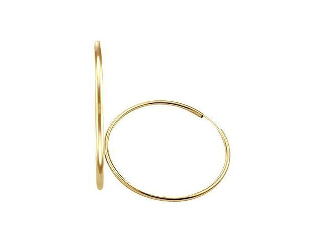 Hoop Earrings 14k Yellow Gold Large Plain Classic 2.25 inch