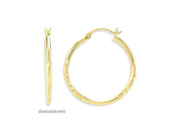 Fashion Hoop Earrings 14k Yellow Gold Leaf Design Women's  3/4 inch