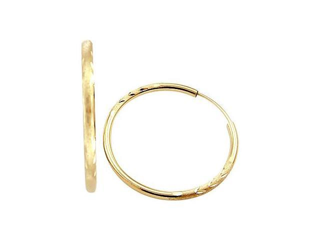 14k Yellow Gold Hoop Earrings Brushed Leaf Design 1.75