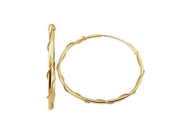 14k Yellow Gold Hoop Earrings Twist Vine Rope .65