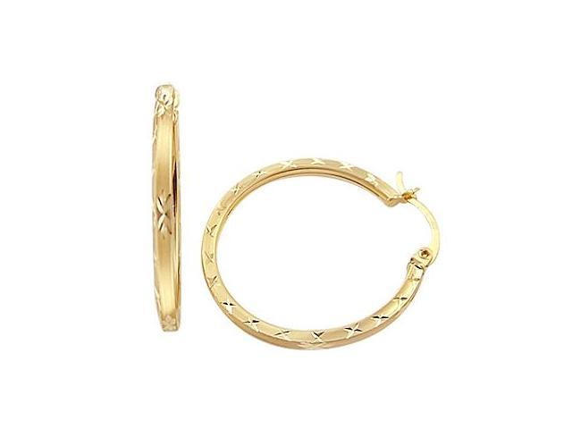 Hoop Earrings 14k Yellow Gold X Cross Fashion 1.25