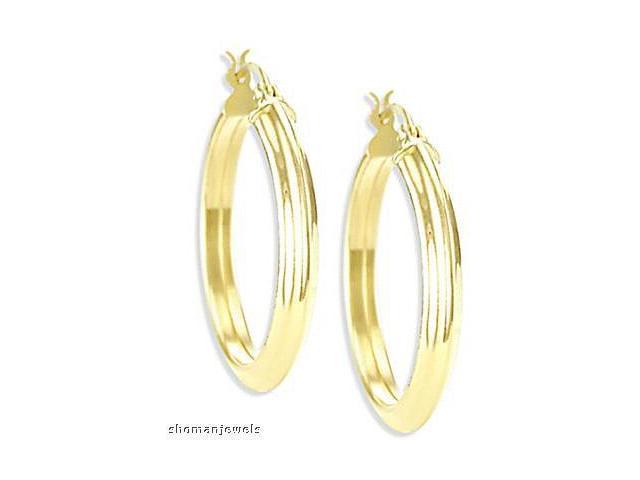 Hoop Earrings 14k Yellow Gold Huggie Large 1.00 inch