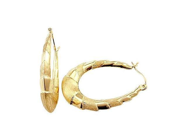 Oval Hoop Earrings 14k Yellow Gold Brushed Clam 1.00 inch