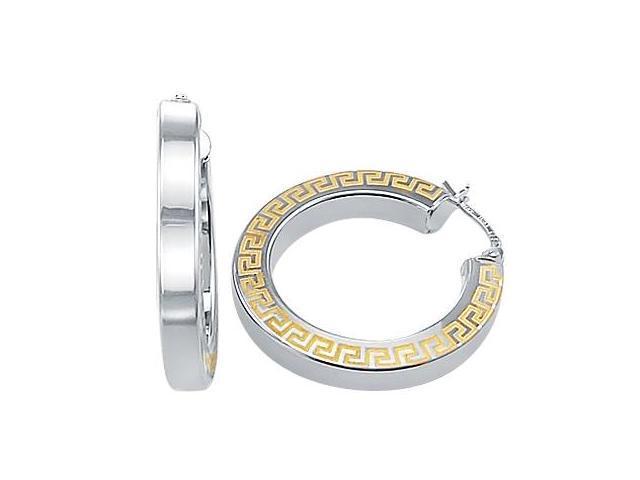 Hoop Earrings 14k White Yellow Gold Flat Greek 1.00 inch
