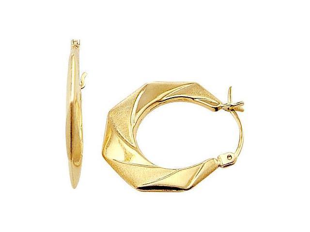 Hoop Earrings 14k Yellow Gold Brushed Elegant Fashion