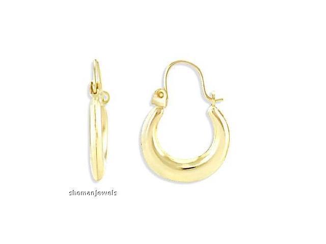 14k Yellow Gold Hoop Earrings Polished Classic Puffed