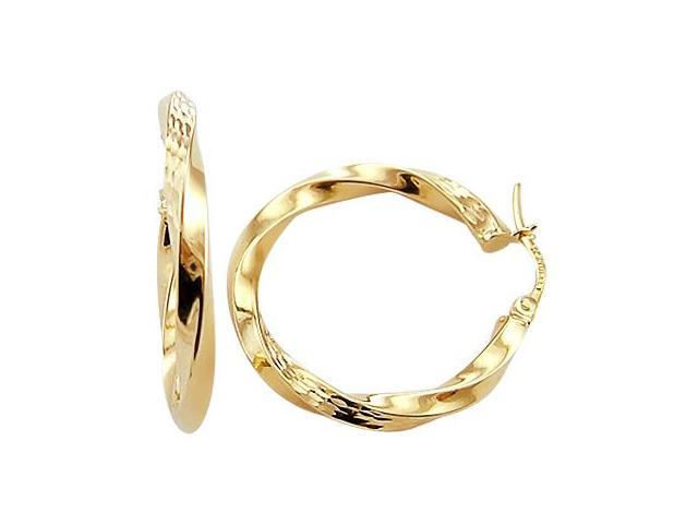 Hoop Earrings 14k Yellow Gold Twist Diamond Cut 1