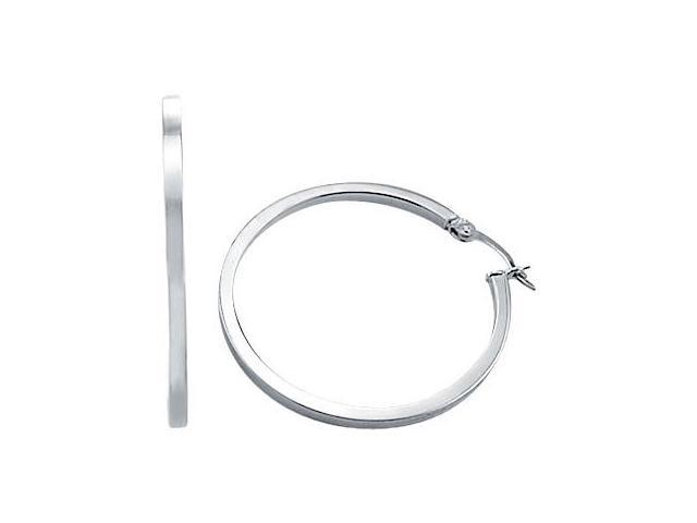Hoop Earrings Women's 14k White Gold Plain Large 1.50 inch