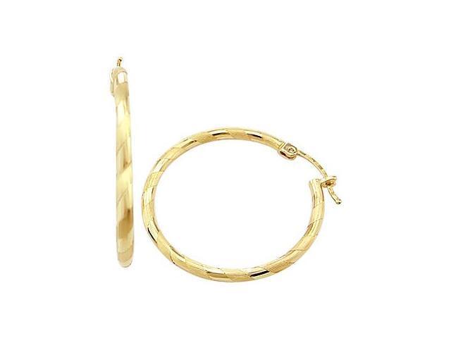 Hoop Earrings 14k Yellow Gold Brushed Elegant 1.75